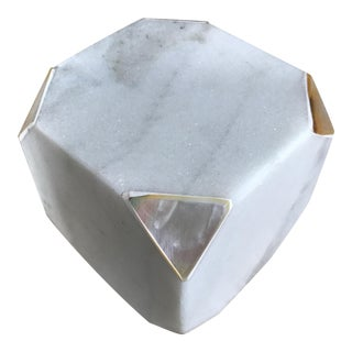 Marble Cube with Inlaid Mother of Pearl