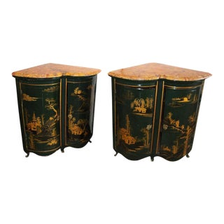 Maison Jansen Louis XV Style Green & Gilt Asian Encoignures - A Pair
