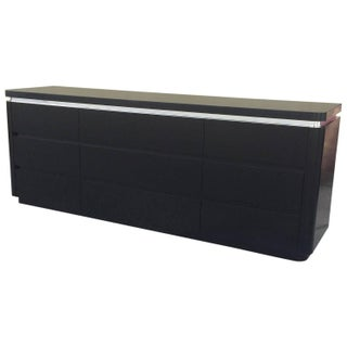 Black Lacquer And Brushed Steel Banding Dresser