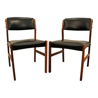 Volther Style Mid-Century Danish Modern Teak & Leather Dining Chairs- A Pair