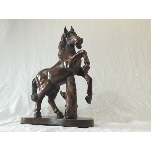 Carved Wooden Horse on Wood Stand - Image 2 of 10