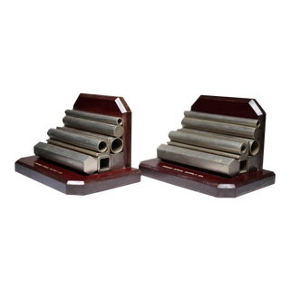 C. 1930s Drake Steel Supply Company Vintage Wood & Steel Bookends - A Pair