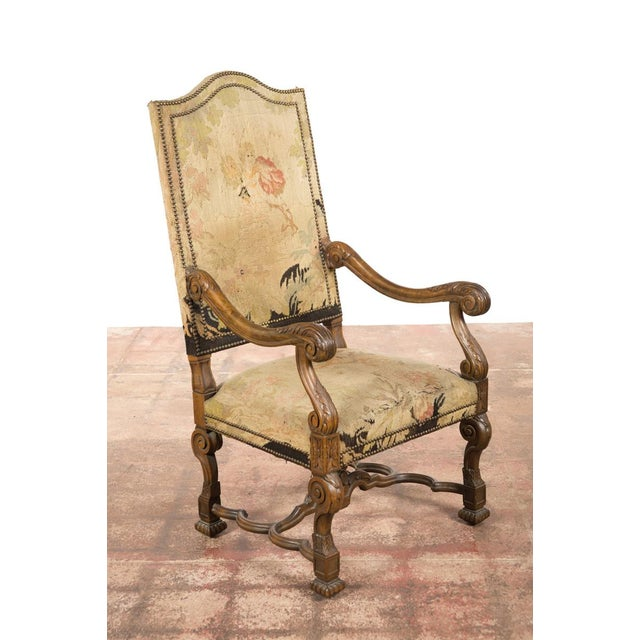 Antique Louis XIII Tapestry Armchairs - A Pair - Image 3 of 10
