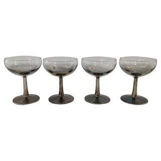 Silvered French Champagne Glasses - Set of 4
