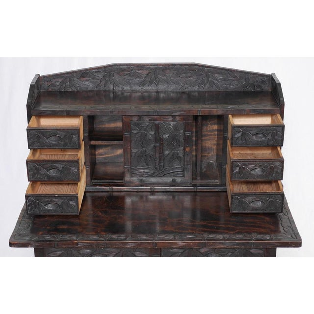 Image of Carved Oriental Desk and Matching Chair