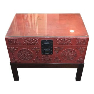 Vintage Chinese Pig Skin Trunk on a Stand