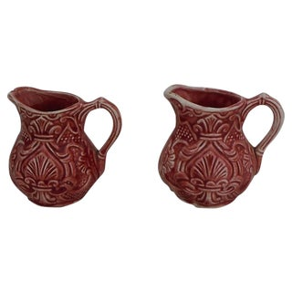 Majolica Pink Milk Pitchers - A Pair