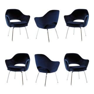 Saarinen Executive Armchairs in Navy Velvet, Set of Six