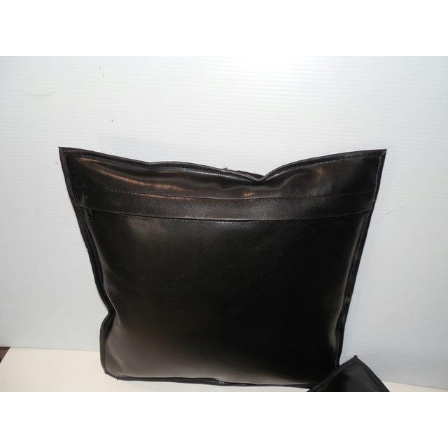 Black Calf Hide & Leather Pillows - a Pair - Image 6 of 6