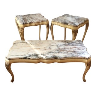 Marble Top Tables - Set of 3