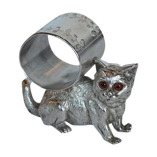 Victorian Glass-Eye Cat Napkin Ring