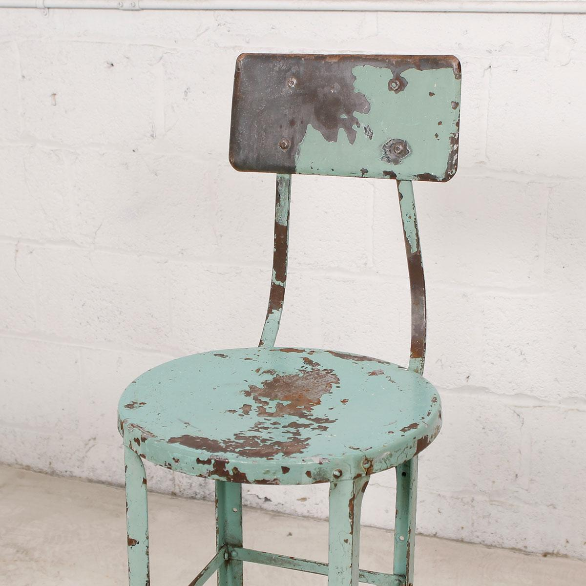 Vintage Industrial Rustic Green Bar Stool Chairish