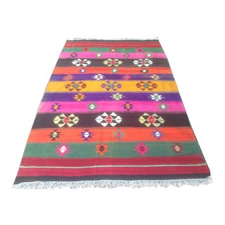 Vintage Turkish Kilim Rug -5′6″ × 8′7″