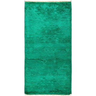 """Vibrance, Hand Knotted Kelly Green Wool Area Rug - 2' 7"""" X 5' 2"""""""
