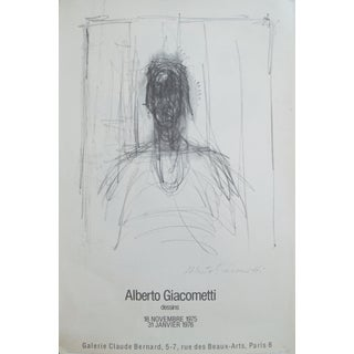 1975 Original Exhibition Poster, Giacometti Drawings - Galerie Claude Bernard