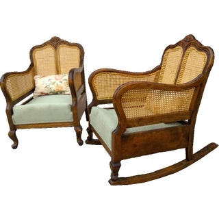 French Country His & Hers Cane Chairs