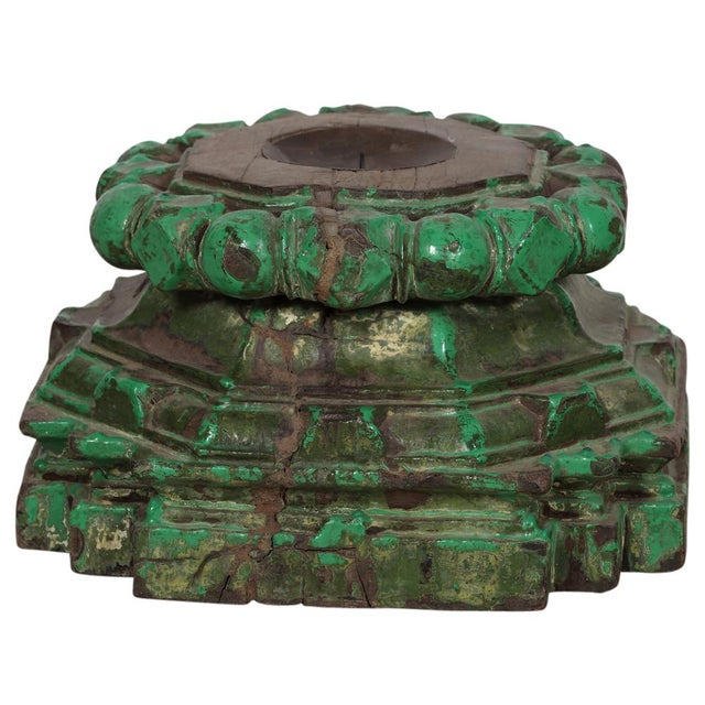 Hand-Chiseled Green Candleholders - A Pair - Image 2 of 3