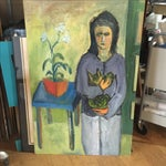 Image of Vintage 1996 Women with Cat Painting