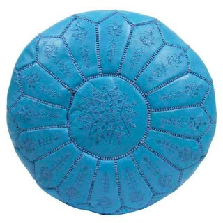 Embroidered Leather Pouf in Sky Blue Star Stitch