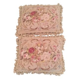 Floral Needlepoint Pillows - Pair