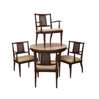 Ed Wormley-Style Travertine Top Bridge Dining Set