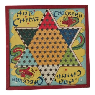 Antique 1940s Chinese Checker Game Board