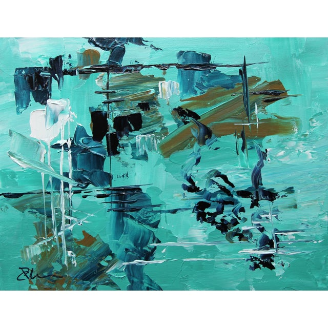 """Reason Askew"" Aqua Painting by Celeste Plowden - Image 1 of 2"