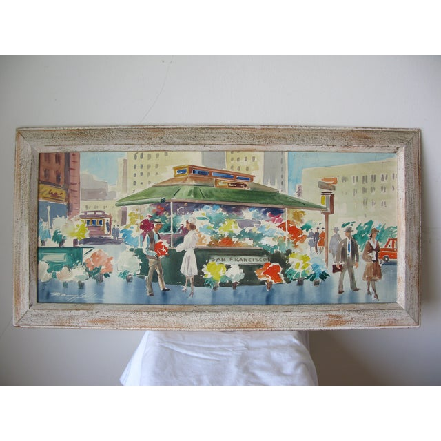 Danny Hall Mid-Century San Francisco Watercolor Painting - Image 2 of 5