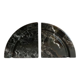 Demilune Black Marble Bookends - A Pair