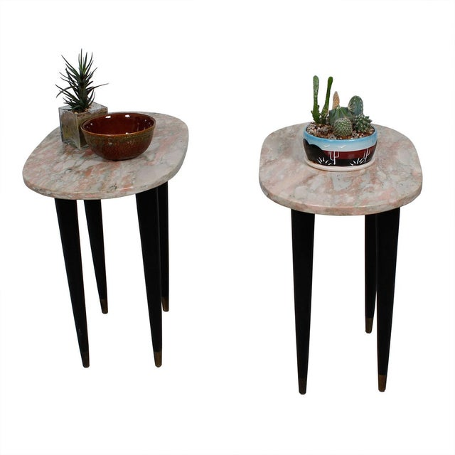 Pink Marble Top Accent Tables - Pair - Image 6 of 7