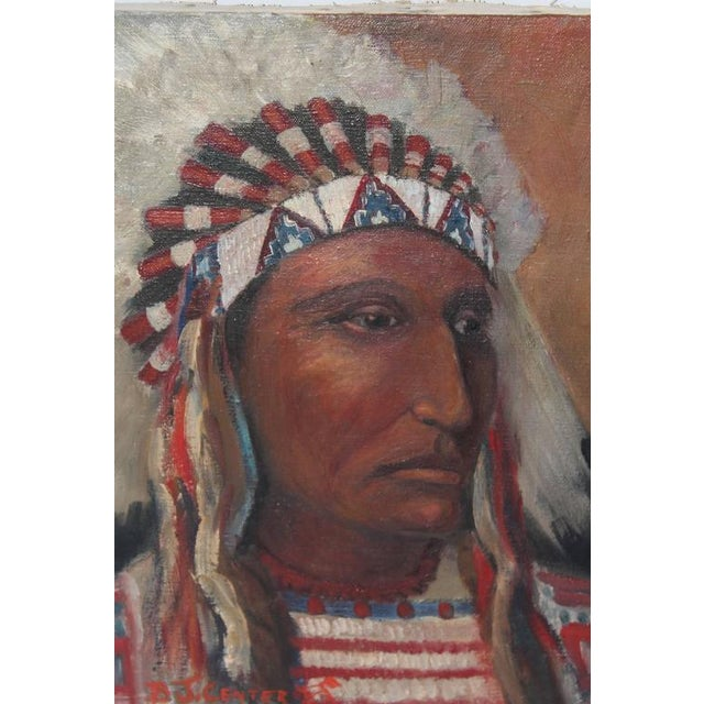 early 20th c. Black Foot Chief Indian oil Painting - Image 2 of 4