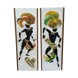 Mid-Century 'Native Dancers' Pebble Art - Pair