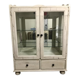 Distressed Wood White Glass Cabinet