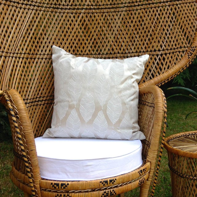 Cream and Gold Embroidered Leaf Print Pillow - Image 4 of 4