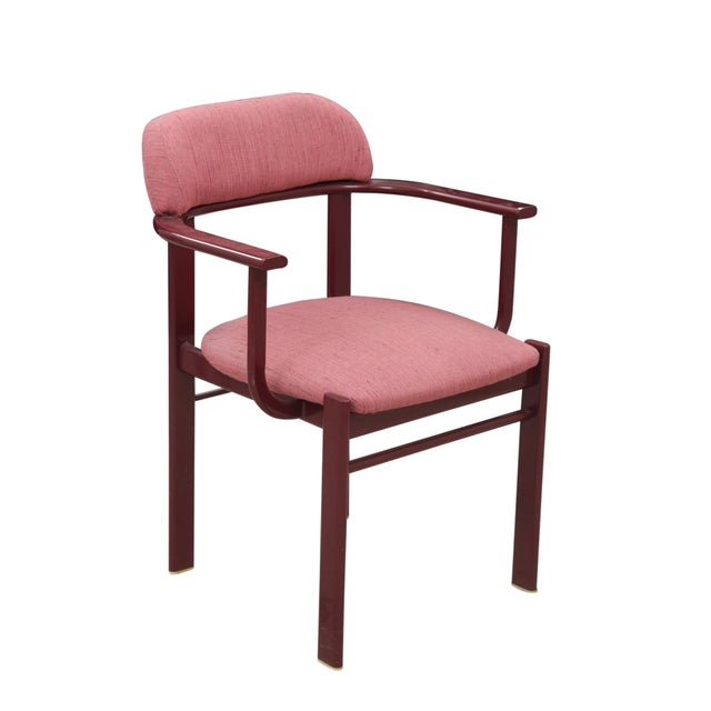 Dusty Rose and Berry Barrel Back Side Chairs - a Pair - Image 2 of 6