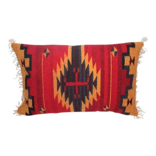 Bold Navajo Indian Weaving Pillow with Fringe