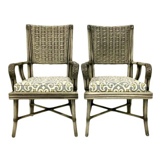 David Francis Rattan & Leather Wrapped Upholstered Armchairs - A Pair