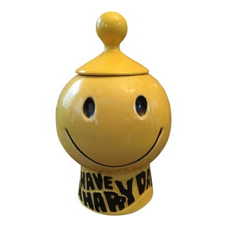 Vintage Yellow Smiley Face Cookie Jar
