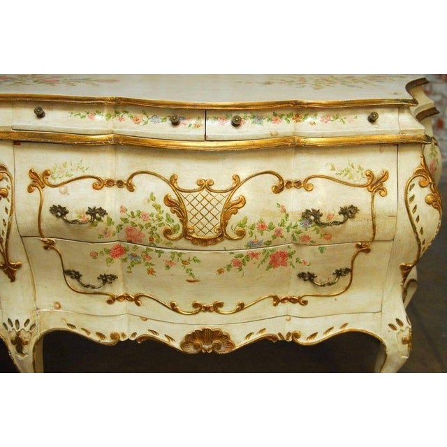 Monumental Venetian Painted and Parcel Gilt Bombe Chest - Image 2 of 10