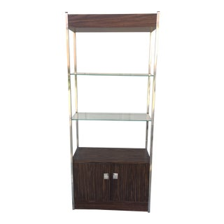 1970's Chrome Walnut Laminate Etagere Shelf