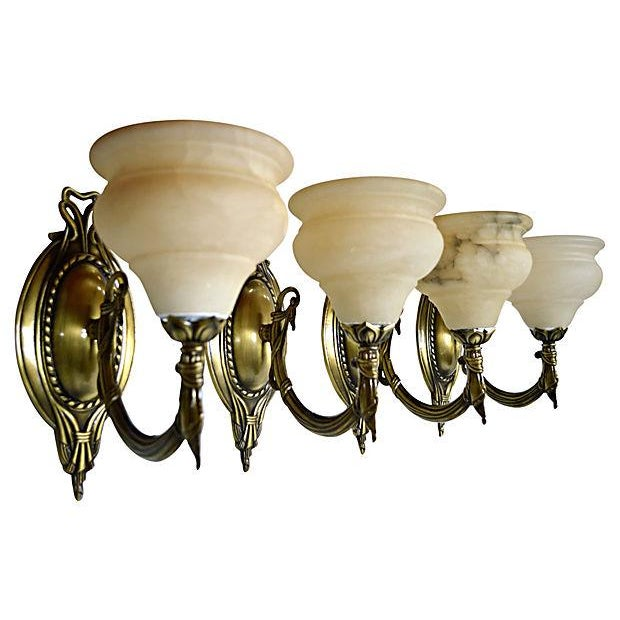 German Alabaster Sconces - Set of 4 - Image 2 of 6