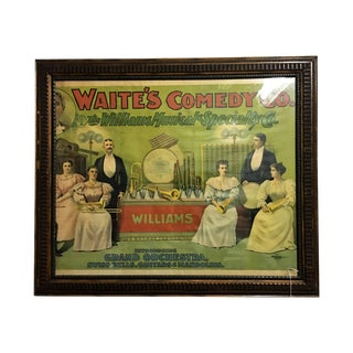 """""""Waite's Comedy Club"""" Antique Framed Advertisement"""