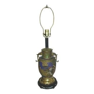 Antique Phoenix & Dragon Brass Champleve Lamp