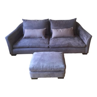 Montauk Sofa Modern Light Grey/Purple Suede Julian Sofa & Ottoman