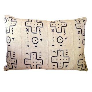 Black and White Mudcloth Lumbar Pillow