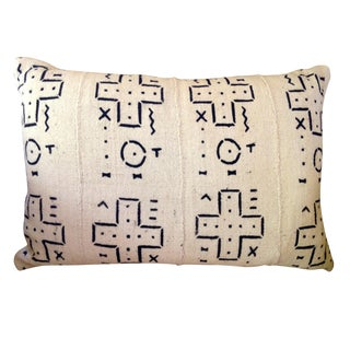 Black and White Mudcloth Lumbar Pillow