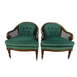 French Country Barrel Back Caned Armchairs - Pair