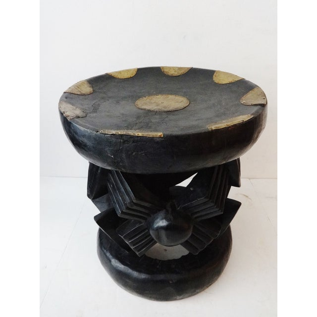 African Bamun Stool With Copper Work - Image 2 of 8