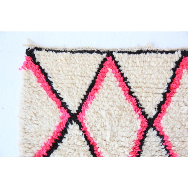 Vintage Moroccan Beni Ourain Pink Runner - Image 6 of 7