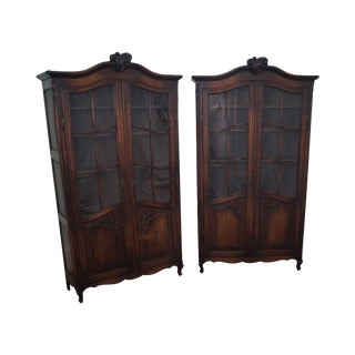 Antique Pair of French Louis XV Style Oak Bookcase Cabinets